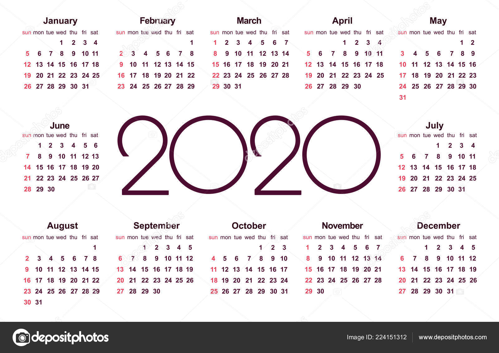Calendrier 2020 Can.Calendar 2020 Year Simple Vector Template Stationery Design