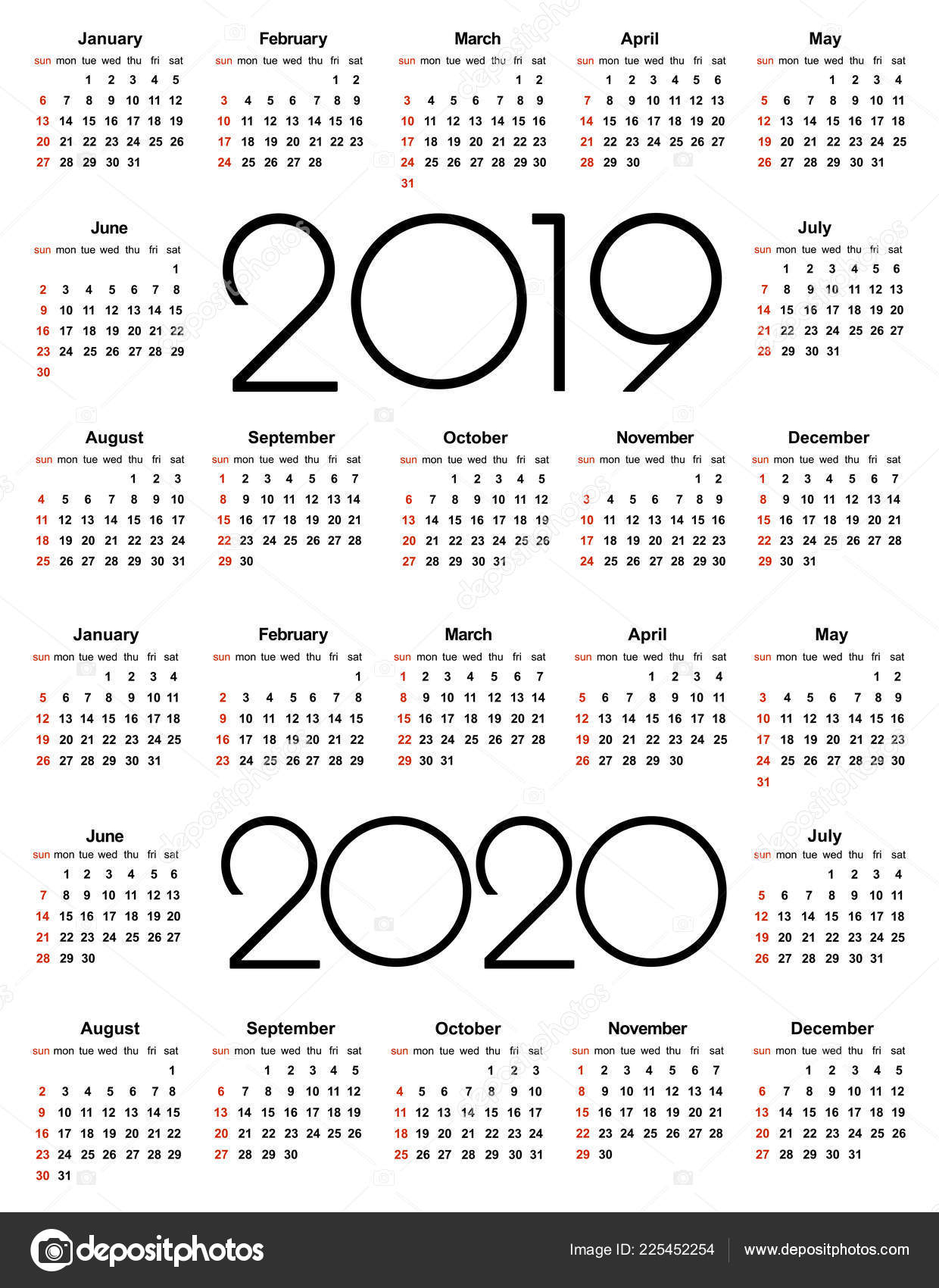 Calendario 2020 Vector Gratis.Calendar 2019 2020 Year Simple Vector Template Stationery