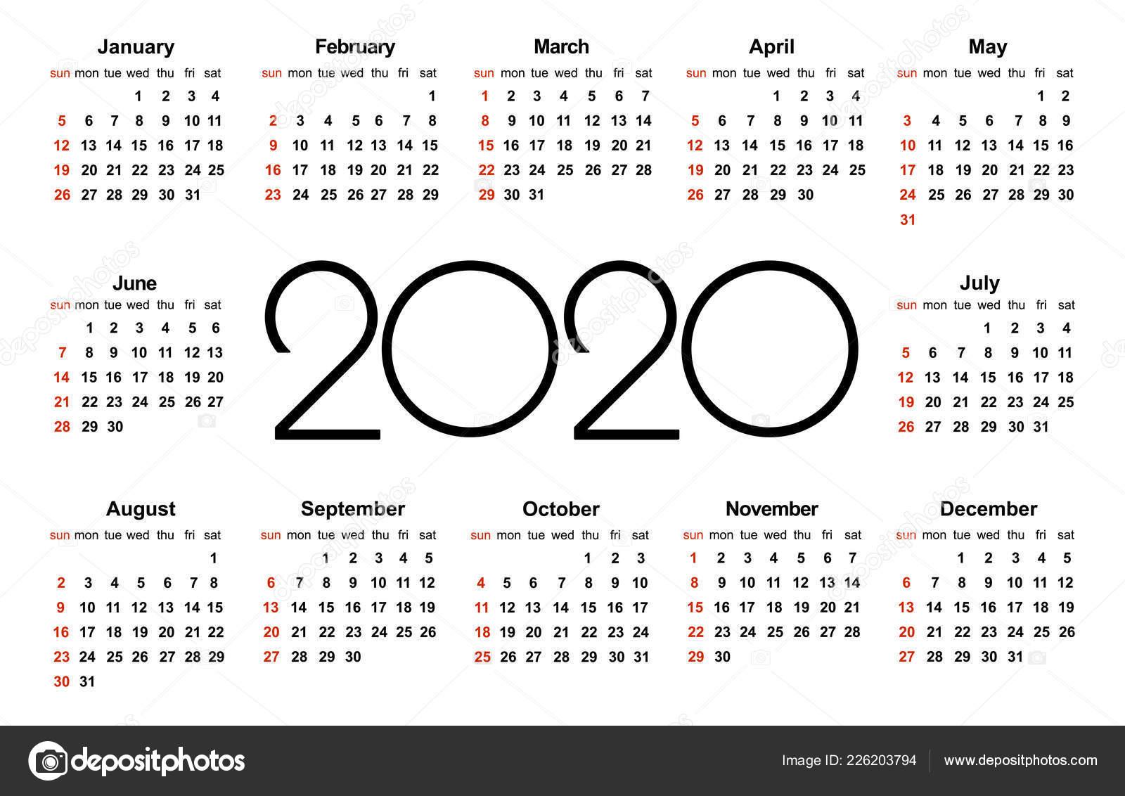 Calendario 2020 Com Feriados Para Impressao.Ano 2020 Calendario Modelo Vetor Simples Modelo Design
