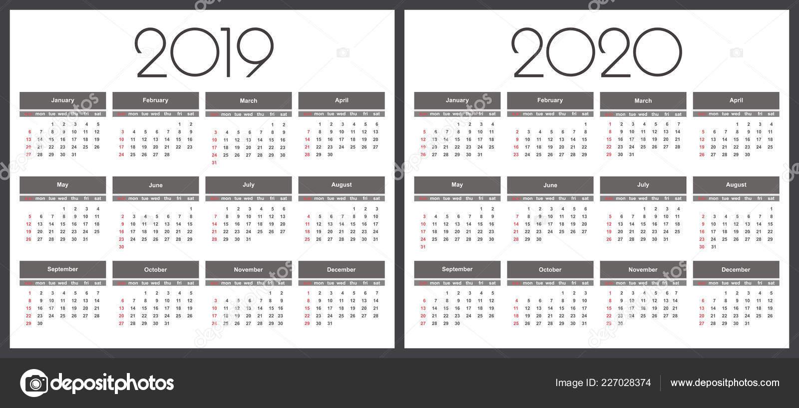 Calendario 2020 Com Feriados.Calendario 2019 Ano 2020 Modelo Vetor Simples Modelo Design