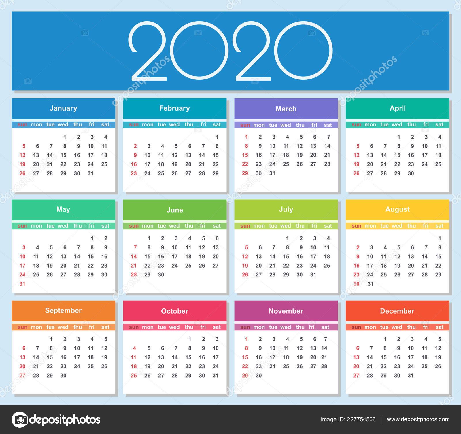 Calendar 2020.Colorful Year 2020 Calendar Simple Vector Template Isolated