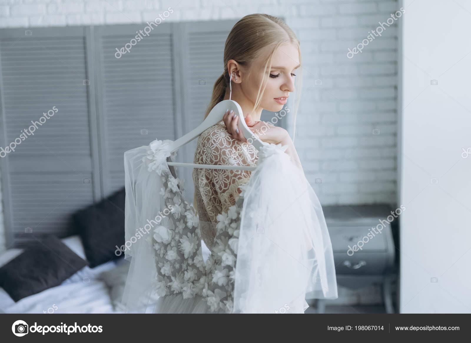 Beautiful Young Bride Holding White Wedding Dress Hanger — Stock ...