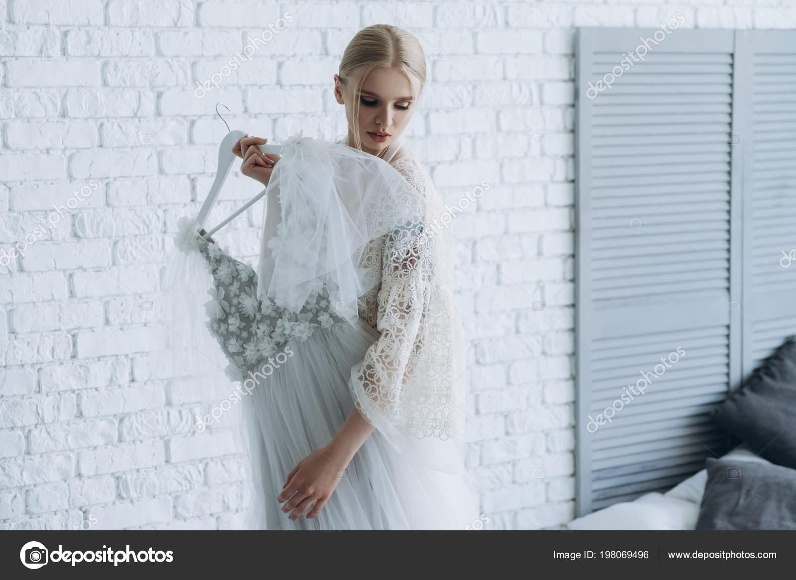Beautiful Young Bride Wedding Dress Hanger Home — Stock Photo ...