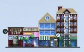 3D vykreslování pixel umění budovy. Izometrické ulice. Izolované na modrém pozadí. Pohled zepředu.