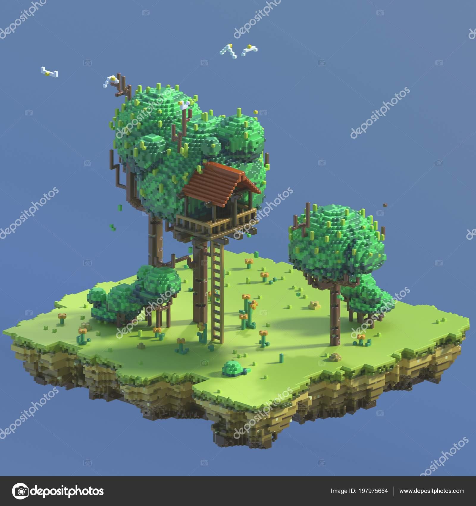 Rendering Pixel Art Nature Scene Ground