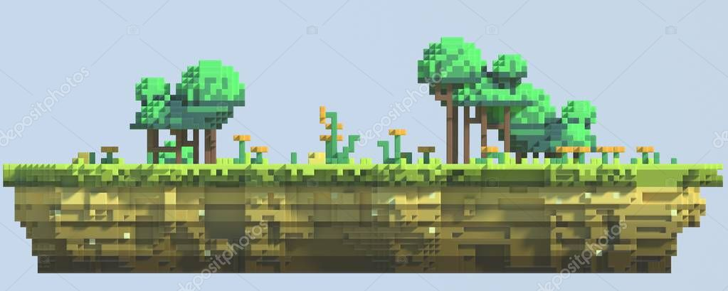 Rendering Pixel Art Level Design Side Cross Section View