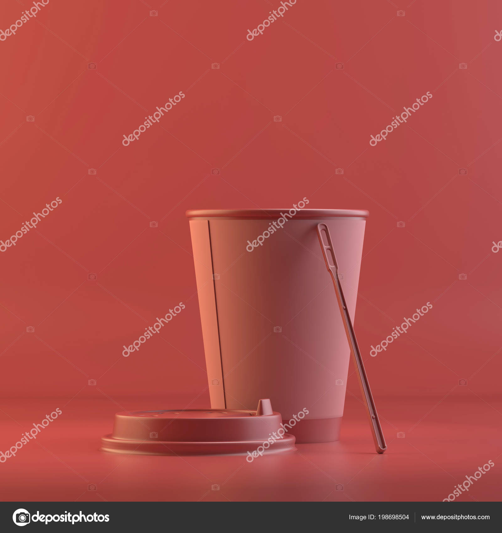 Rendering Paper Coffee Cup Plastic Spoon Design Mockup All Objects