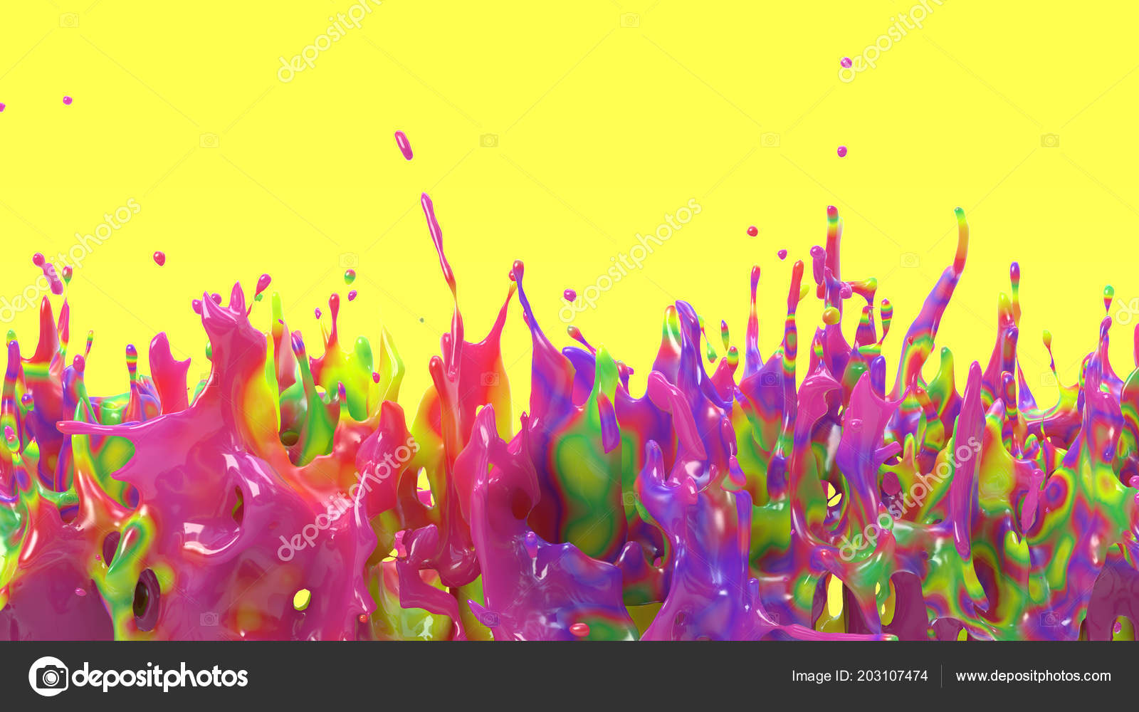 Rendering Colorful Splash Many Colors Diffuse One Liquid Drop