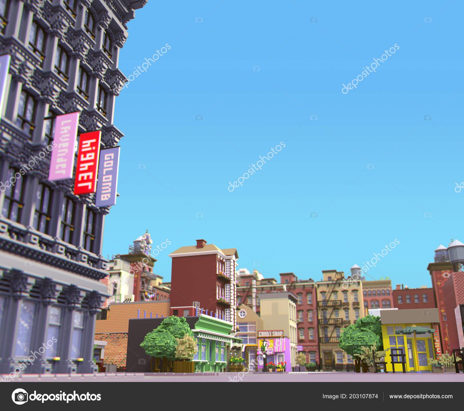 Rendering Cartoon Stilisierte Stadt Pixel Kunst Stadt Typische New