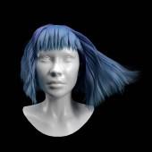 Fényképek 3D visszaadás-ból fehér fej manöken paróka elszigetelt a fekete háttér. Absztrakt avatar kék hajjal. Portré gyönyörű cyber lány. Mesterséges intelligencia bot a virtuális valóságban. Vértes robot
