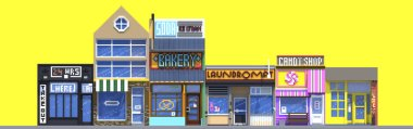 3d rendering set of flat isometric block buildings infographic concept. City street on yellow background. House icon collection. Building facade front view. Pixel art. Small shops