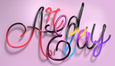 3d rendering of gradient handwritten glossy brushed thin shiny phrase isolated on pink background. Hand drawn brush script plastic glitter latin letters. Poster with calligraphic inscription Already