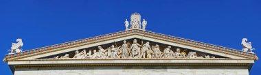 Sculptural complex of ancient twelve gods on academy building in Athens, Greece