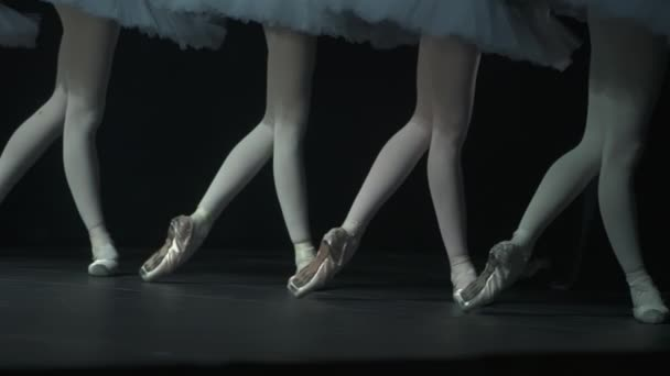 Legs view of young female ballerinas during classical performance in ballet studio spbd.