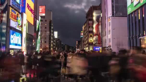 Hyperlapse video of busy people on street of megacity