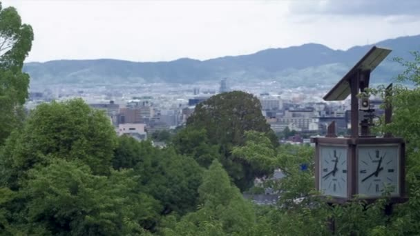 aerial view of buildings and mountains of Kyoto from kiyomizu temple