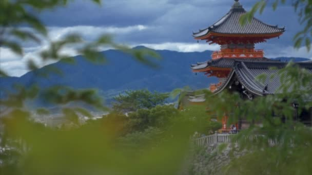 view of orange temple in Kyoto, Japan