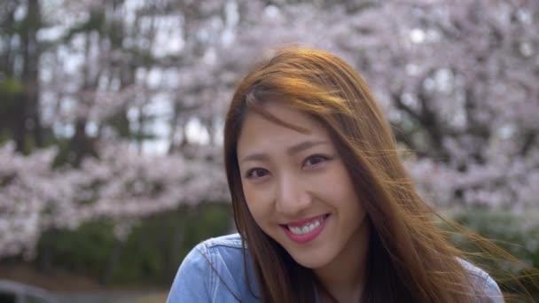 Fokus auf schöne Japanerin, die die Kirschblüten genießt, Zeitlupe.