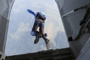 Skydiving. The start of the jump.