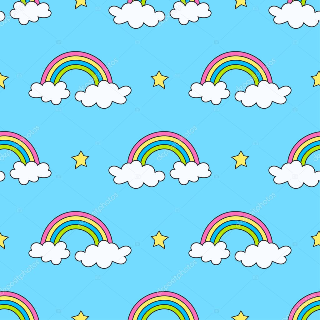 sky pattern with rainbows, stars and clouds