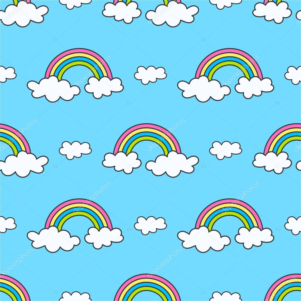 pattern with rainbows and clouds on the sky