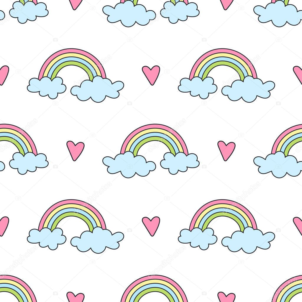 Seamless pattern with rainbows, clouds and hearts