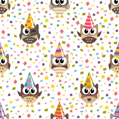 Pattern with cute owls with hats and confetti