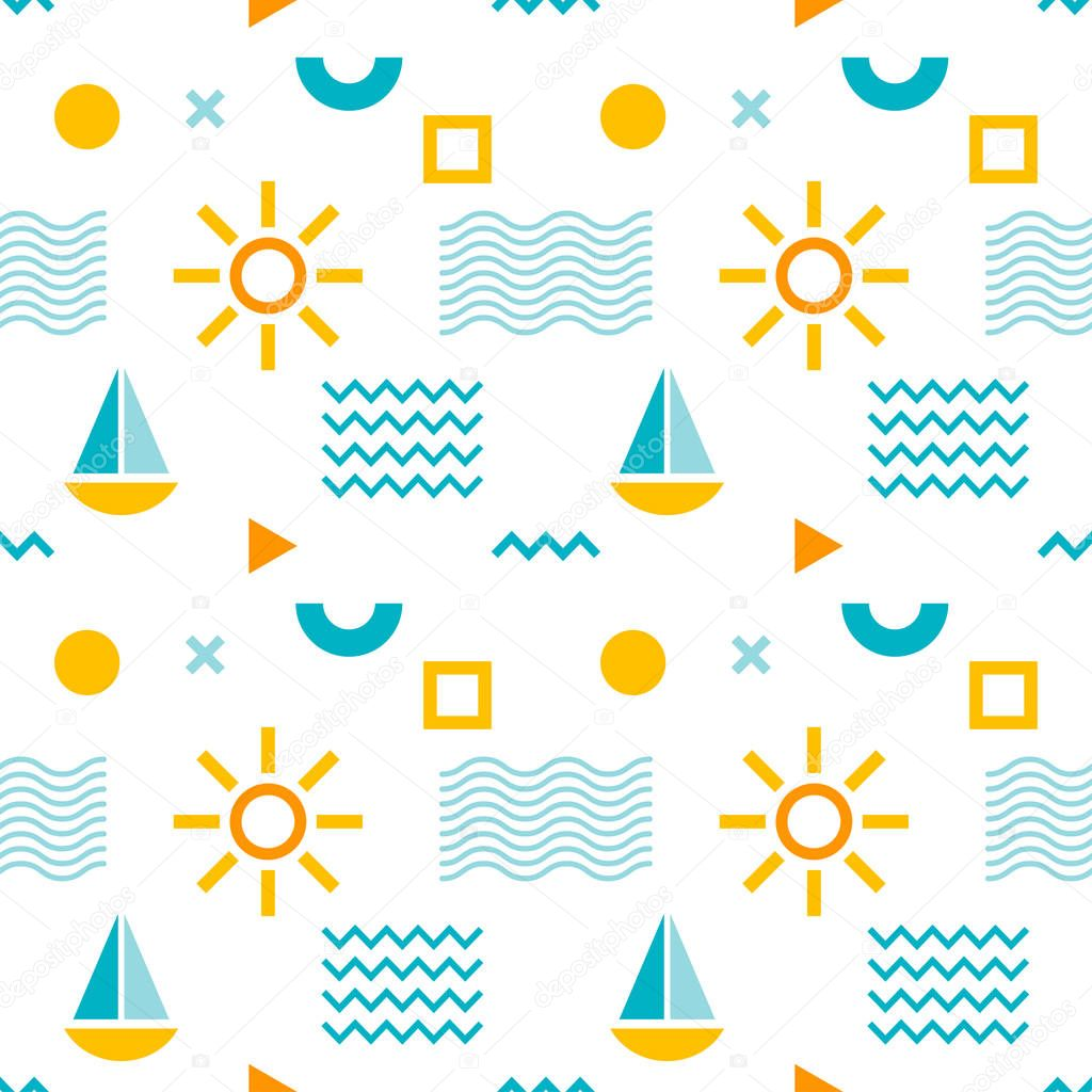 Seamless abstract pattern with sun, boat and geometric shapes