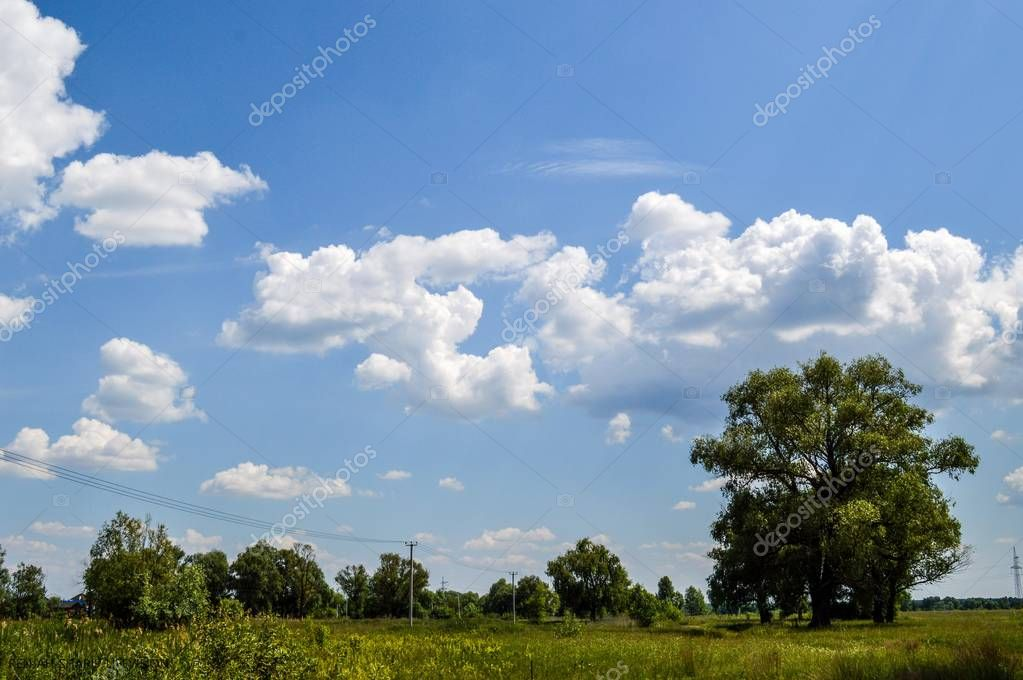 Skyscape and Clouds Show on a great Ukrainian plains, near Desna river. Casting shadows. Cloudscape and outdor adventures