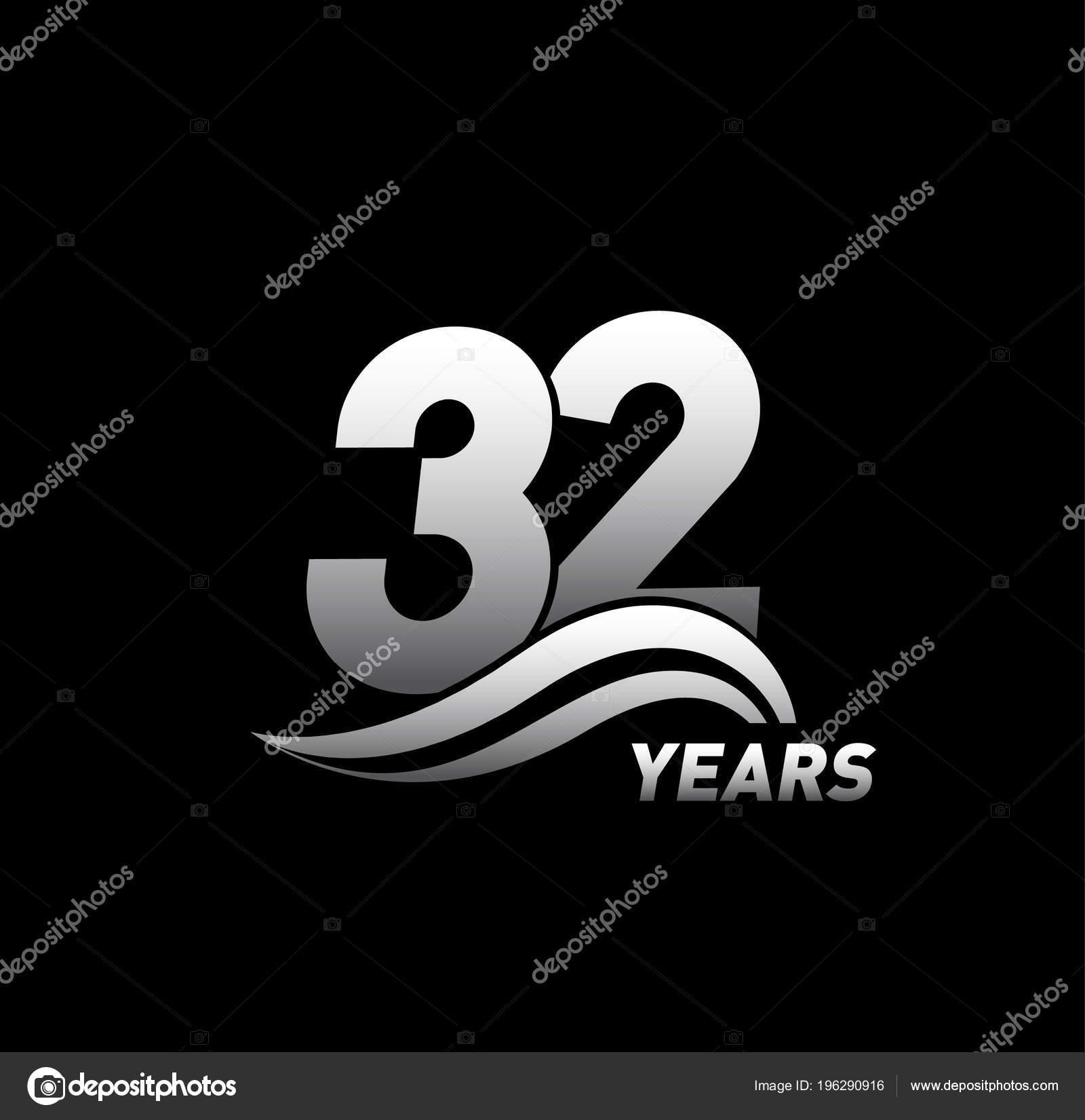 Yıl Yıldönümü Logosu Dekoratif Arka Plan Gümüş Stok Vektör