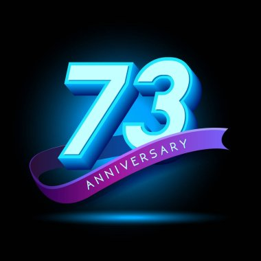 73 years  Anniversary 3D design  with glow effect. celebration vector template design