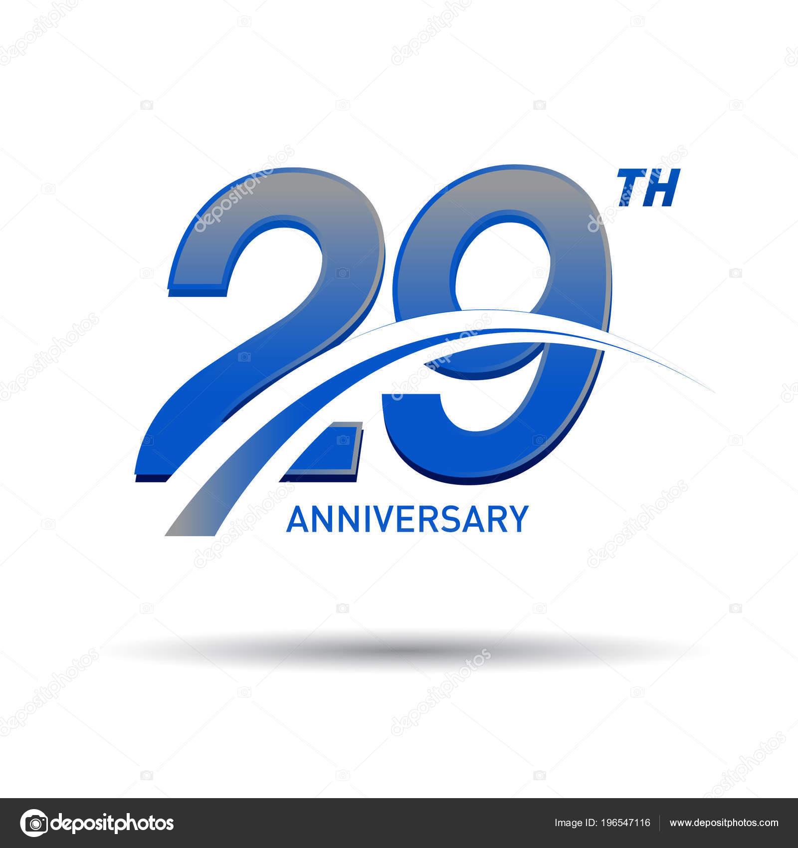 Yıl Yıldönümü Logosu Dekoratif Arka Plan Mavi Stok Vektör
