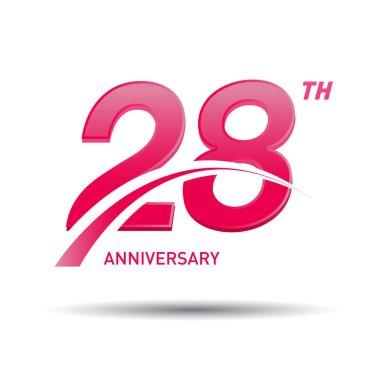 28 years red anniversary logo, decorative background