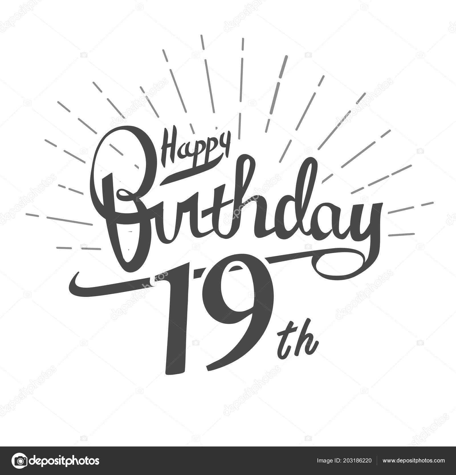 Verjaardag 19.Jaar Verjaardagslogo Witte Achtergrond Proficiat Met