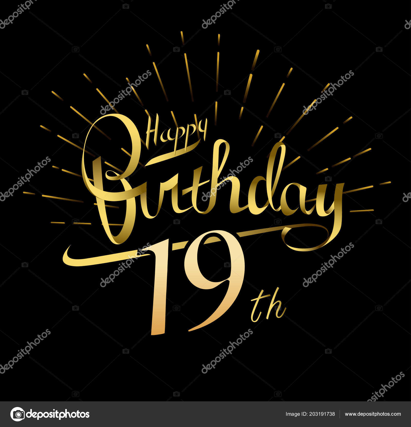 Happy birthday logo, decorative background– stock illustration