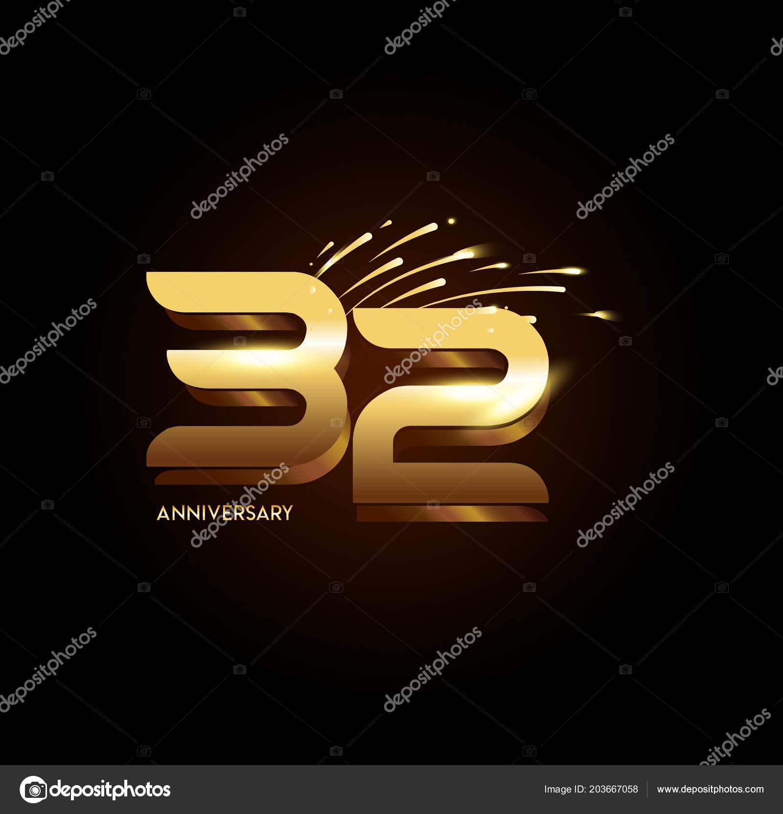 Yaş Altın Yıldönümü Logosu Dekoratif Arka Plan Stok Vektör