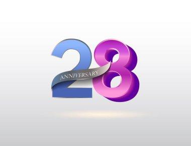 28  years  anniversary logo, decorative background