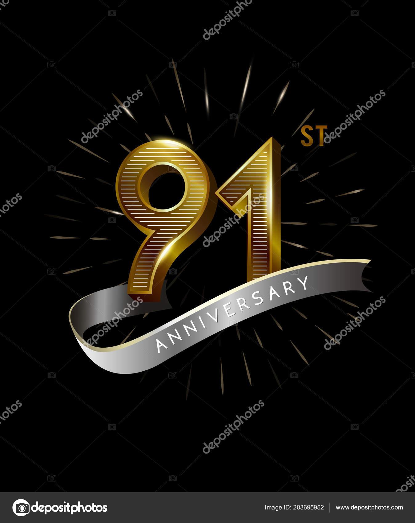 Yıl Altın Yıldönümü Logosu Dekoratif Arka Plan Stok Vektör