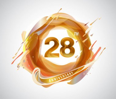 28 years golden  anniversary logo, decorative background