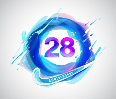 28  years colorful   anniversary logo, decorative background