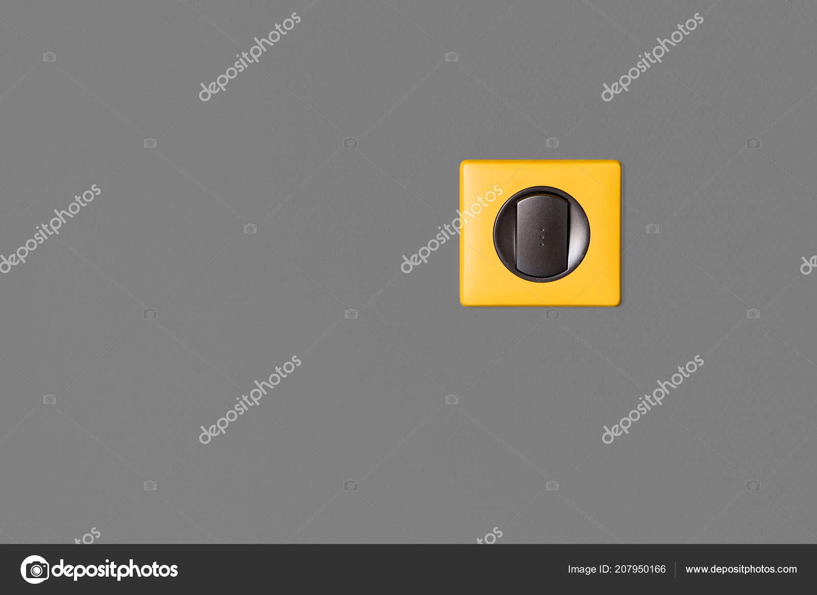 Single Light Switch Grey Wall Graphite Keys Bright Yellow Frame ...