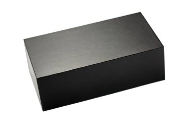 Closed black box of textured cardboard on white background. Isolated