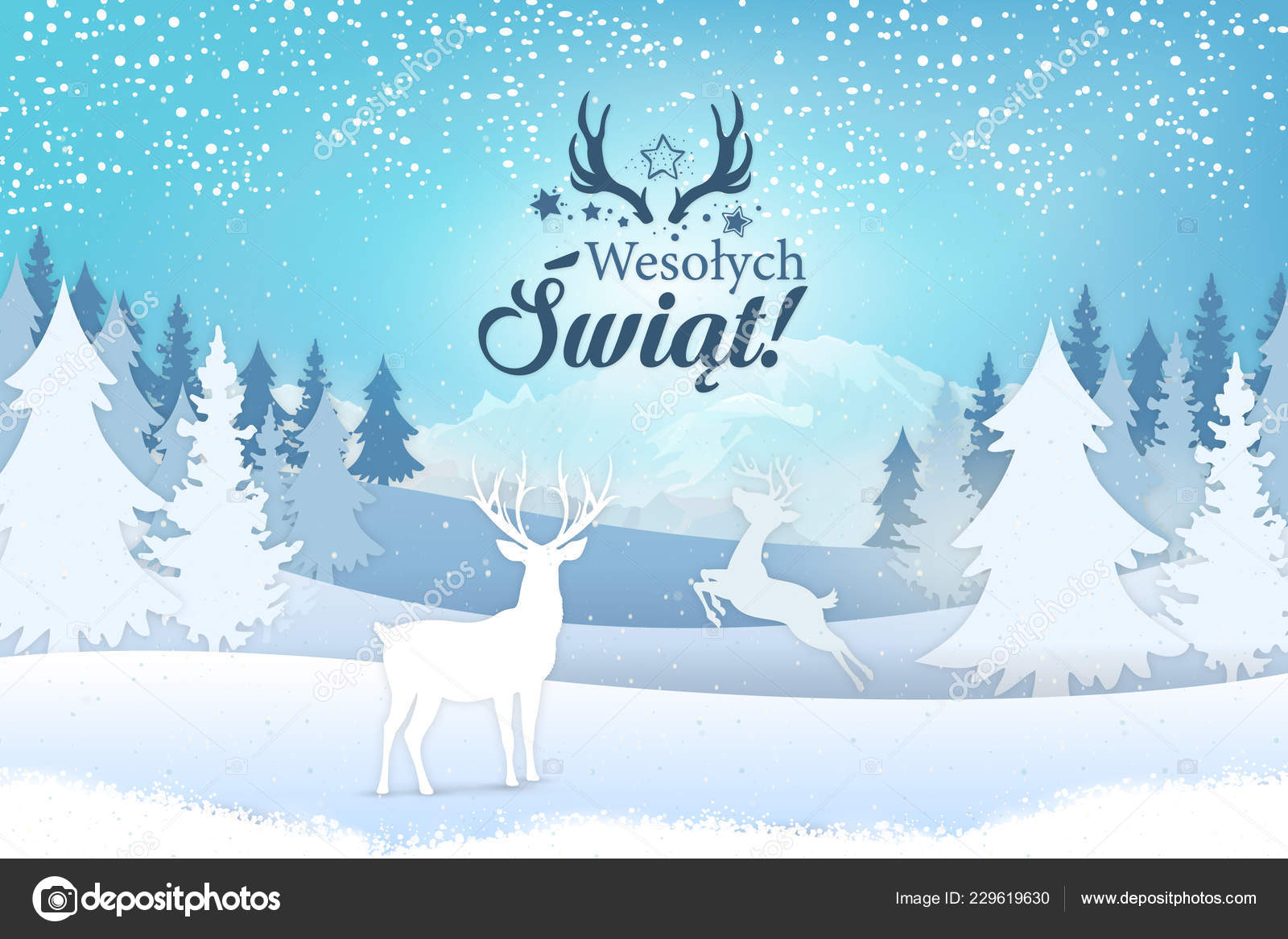 Merry Christmas In Polish.Holiday Greeting Card Concept Merry Christmas Written Polish