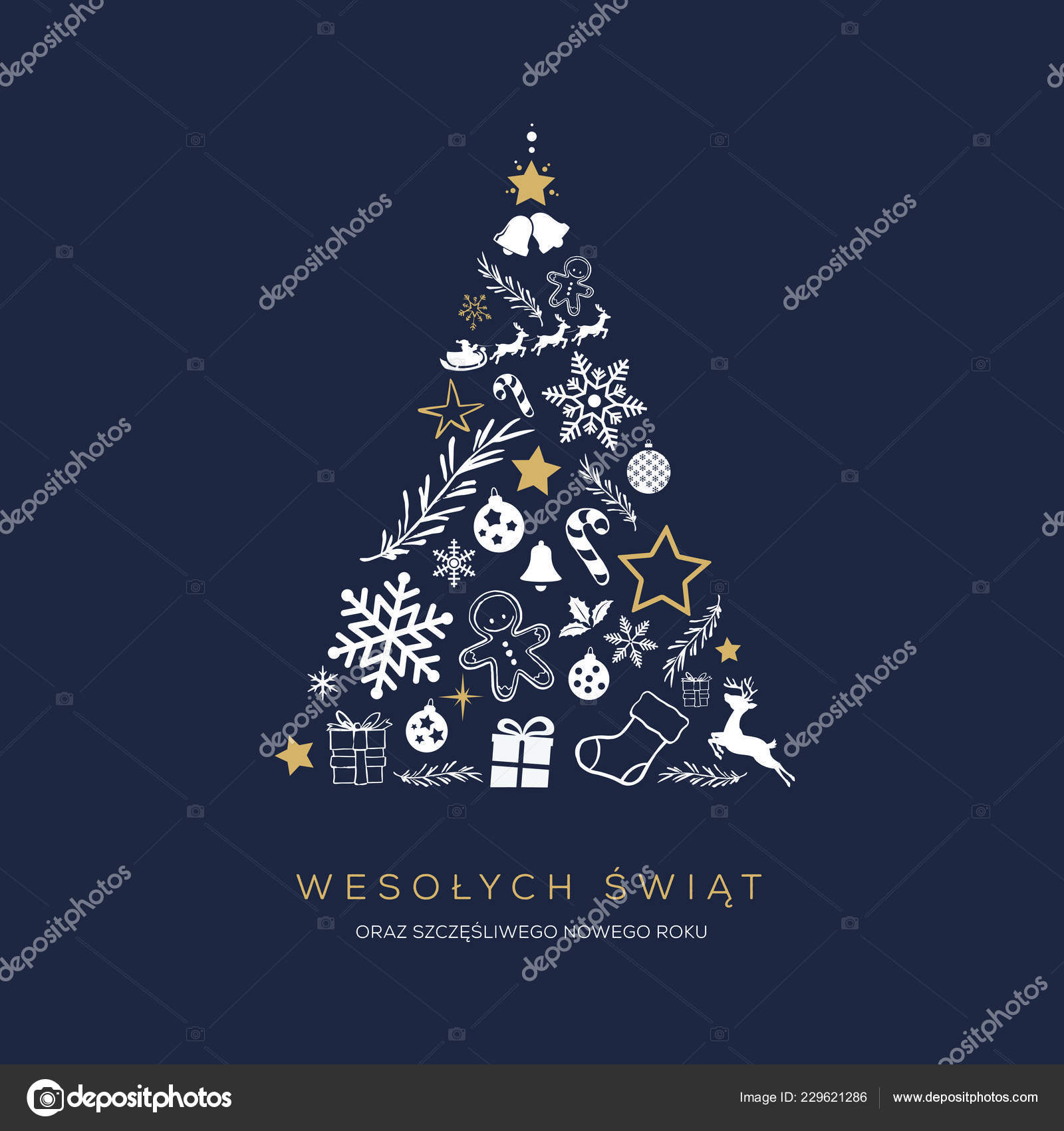 Merry Christmas In Polish.Greeting Card Concept Words Merry Christmas Polish Abstract