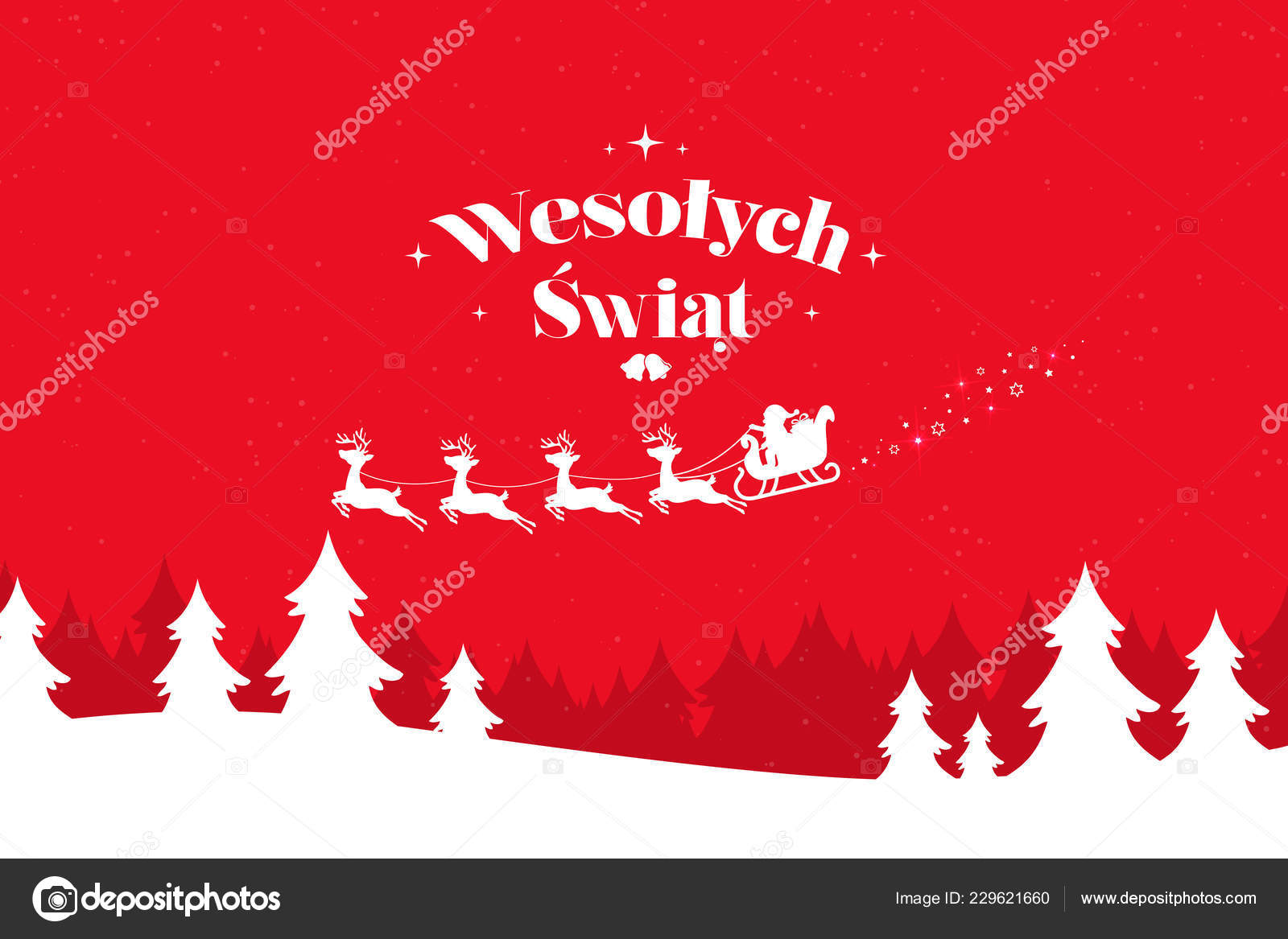 Merry Christmas In Polish.Greeting Card Stylish Merry Christmas Lettering Polish