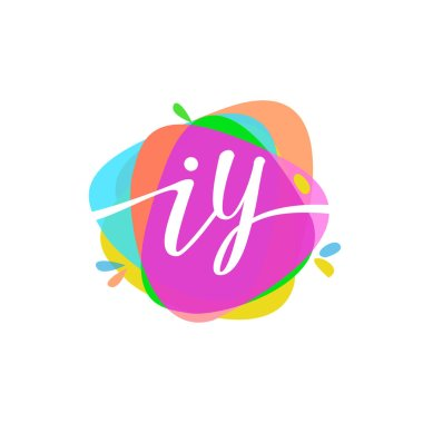 Colorful vector logotype with letters iy