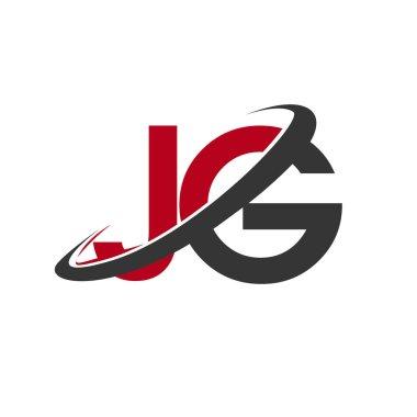 vector illustration of red and black alphabet letters jg