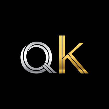 vector illustration of silver and golden letters qk