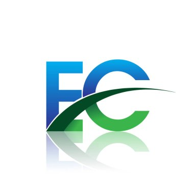 vector illustration of blue and green letters ec