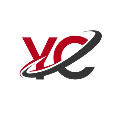 vector illustration of red and black letters yc